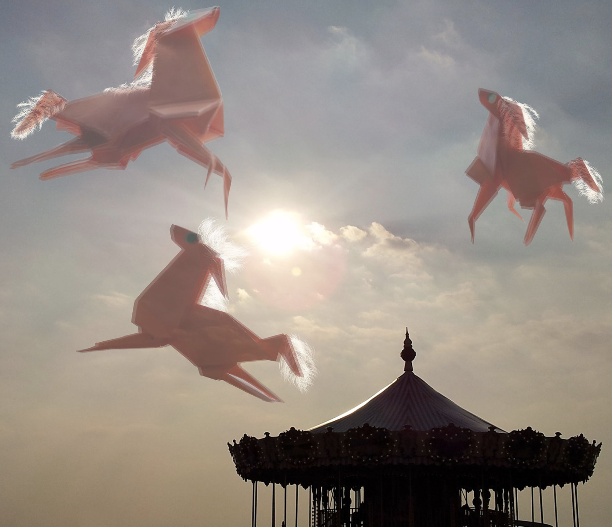 Origami horses flying above a carousel