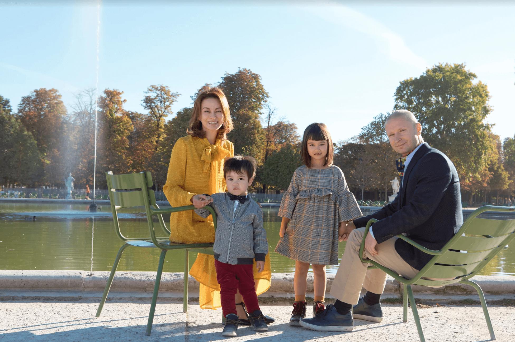 Family in Tuileries garden
